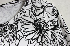 Pretty Black and White Floral Top by Hot Cotton USA made and nice quality - Jamies Closet - 6