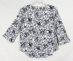 Pretty Black and White Floral Top by Hot Cotton USA made and nice quality - Jamies Closet - 7