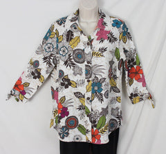 Hot Cotton Blouse S size Colorful Floral Linen Womens All Season Top - Jamies Closet - 1