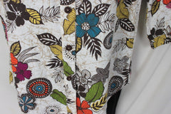Hot Cotton Blouse S size Colorful Floral Linen Womens All Season Top - Jamies Closet - 3