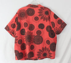Cute Hot Cotton 3x size Blouse Orange Black Floral Linen Blend