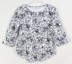 Pretty Black and White Floral Top by Hot Cotton USA made and nice quality - Jamies Closet - 3