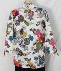 Hot Cotton Blouse S size Colorful Floral Linen Womens All Season Top - Jamies Closet - 4