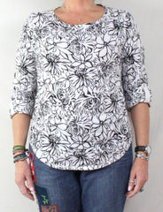 Pretty Black and White Floral Top by Hot Cotton USA made and nice quality - Jamies Closet - 2