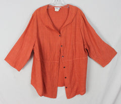 Cute Hot Cotton Linen Blouse 1x sz Womens Burnt Orange