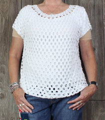 Cute Made In Italy White Blouse XL Size Lined Open Crochet