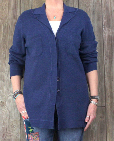 Jaeger S M L size Cardigan Sweater Blue Wool Cotton Womens Big Shirt Style