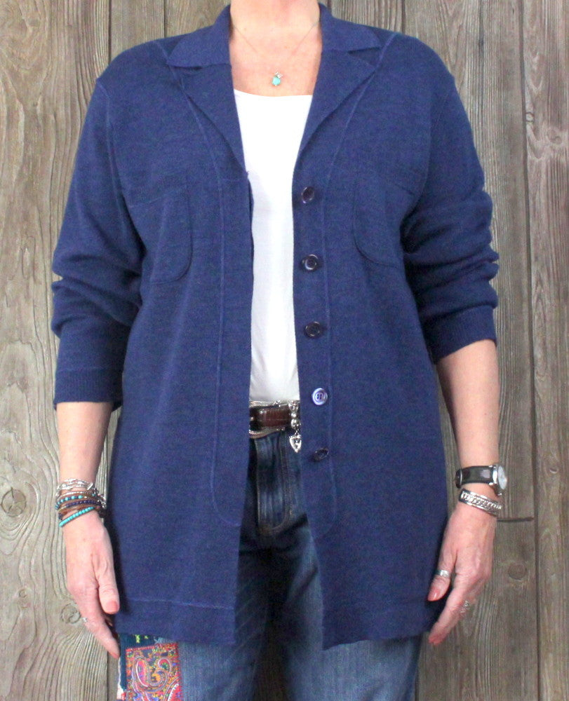 Jaeger S M L Size Cardigan Sweater Blue Wool Cotton Womens Big Shirt S Jamies Closet