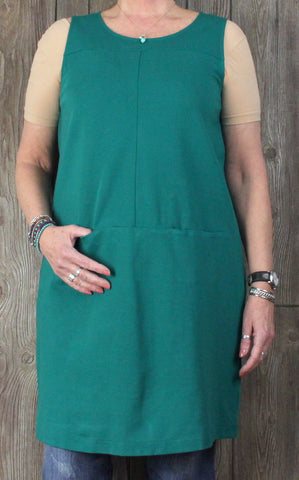Nice J Jill L size Stretch Dress Green Sleeveless Tank Womens Career Casual