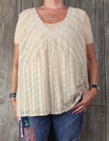 Nice J Jill 4x size Beige Lace Stretch Tank Top