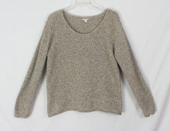 J Jill L size Cotton Sweater Brown Beige Flecked Womens Casual Stretch Relaxed