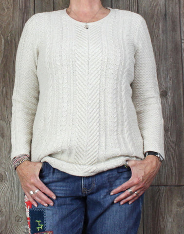 Nice J Jill Raised Cable Crew Neck Sweater M size Beige Womens Career Casual Top