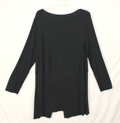Super Cute New J Jill Wearever Black Tunic Top L size Black Stretch Womens Career Casual Blouse
