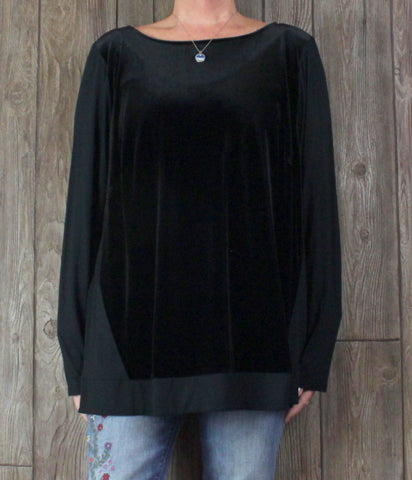 Pretty J Jill Wearever Blouse 3x size Black Velvet Accent Womens New with tags.