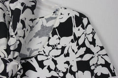 J Jill Wearever Blouse Scarf 2pc Blouse M L size Black White Floral Stretch Top