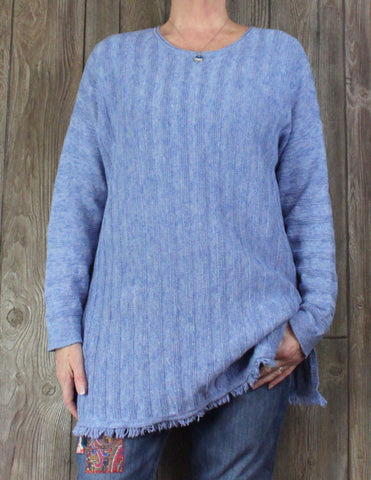 Cute J Jill 2x size Tunic Sweater Blue Fringed Womens Cotton Blend