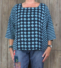 Pure J Jill XL size Kimono Blouse Blue Lightweight Top