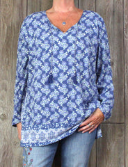 Pretty J Jill xl size Blouse Blue Floral Tunic Top