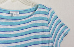 J Jill M size Blue White Stripe Blouse Womens Linen Blend