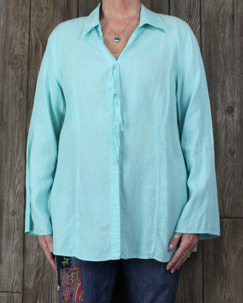 Nice J Jill XL size Blouse Light Sky Blue Bell Sleeve Womens Linen Top