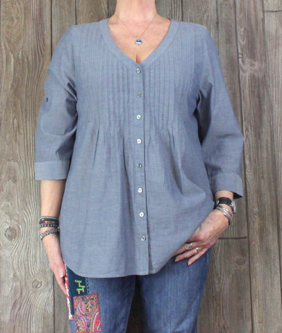 J Jill Blouse L size Blue Gray Lightweight Top Womens Cotton Work Casual