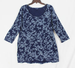 Cute Pure J Jill XL Indigo Blue Tunic Top Womens Stretch Floral