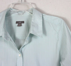 Nice J Jill Blouse L Petite LP size Light Green Pinstripe Fitted Stretch Top All Season - Jamies Closet - 5