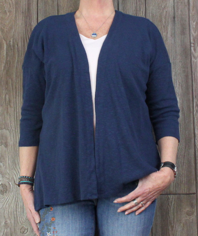 Pure J Jill L size Cardigan Sweater Blue Open Front