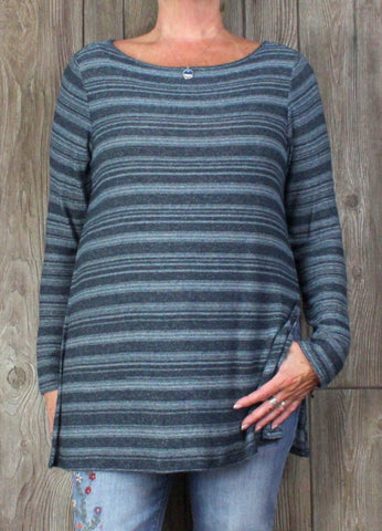Nice J Jill Wearever L Petite LP size Tunic Sweater Blue Stretch Knit