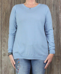 J Jill Merino Wool Crew Neck Sweater L XL size Light Blue