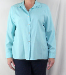 Nice J Jill Light Blue Shirred Back Blouse M size Lightweight All Season Top - Jamies Closet - 3