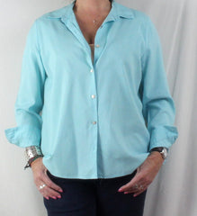 Nice J Jill Light Blue Shirred Back Blouse M size Lightweight All Season Top - Jamies Closet - 2