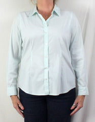 Nice J Jill Blouse L Petite LP size Light Green Pinstripe Fitted Stretch Top All Season - Jamies Closet - 2