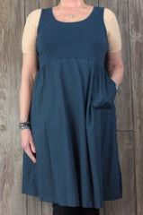 J Jill Tank Dress M L size Slate Blue Stretch Top Full Skirt Lightweight Pockets