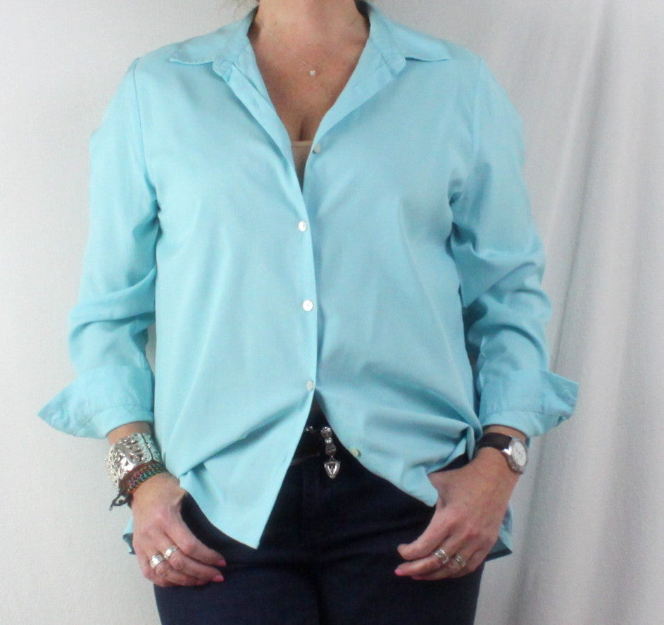 Nice J Jill Light Blue Shirred Back Blouse M size Lightweight All Season Top - Jamies Closet - 1