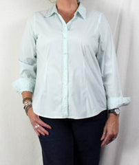 Nice J Jill Blouse L Petite LP size Light Green Pinstripe Fitted Stretch Top All Season - Jamies Closet - 1