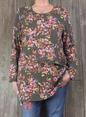 Pretty J Jill XL size Tunic Top Brown Floral Lightweight Layered Blouse