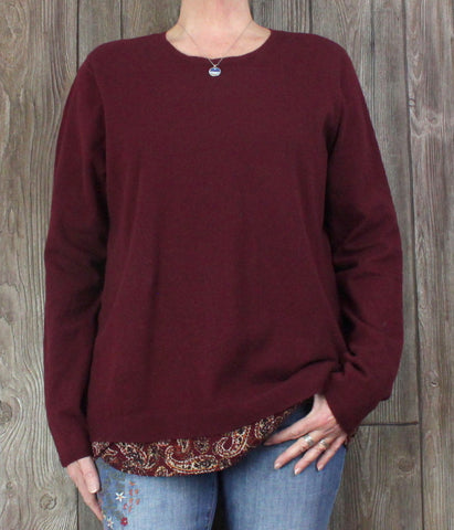 Nice J Jill XL Tall sz Crew Sweater Burgundy Faux Button Back Top