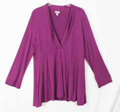 J Jill L Petite LP size Blouse Wine Purple Drape Crossover Vneck Shirt Stretch Womens Top