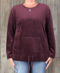 New Pure J Jill L size Velour Top Burgundy Merlot Womens Soft Cotton Blend