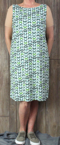 Cute J Jill Wearever L size Butterfly Tank Dress Womes Green Blue Stretch Comfortable