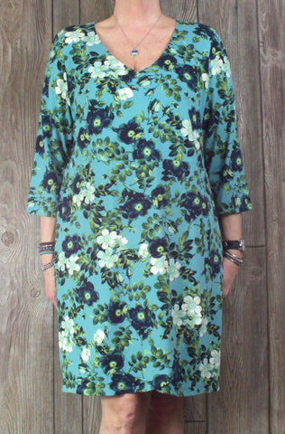 Nice J Jill XL Petite XLP size Wearever Dress Blue Green Faux Wrap Front Stretch