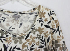J Jill M sz Blouse Ivory Brown Black Floral Cotton Top