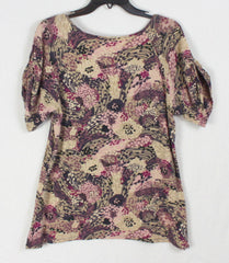 Cute J Jill Comfy Stretch Top  M L size Pink Brown Burgundy Floral