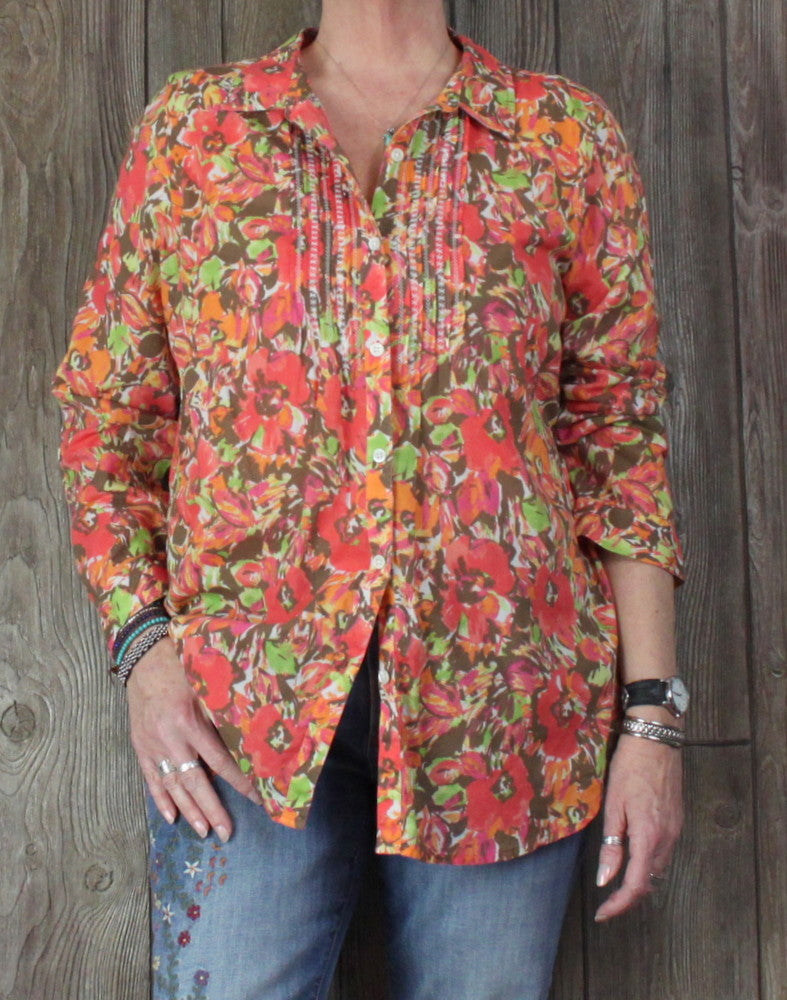 J Jill Uncommon Threads Blouse L size Orange Multi Color Lightweight