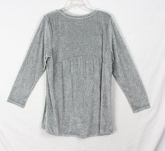 Pure J Jill Plush Tunic Top L size Soft Gray Blouse Womens Casual