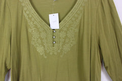 New J Jill XL size Blouse Olive Green Embroidered Work Casual