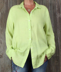Nice J Jill L Tall LT size Blouse Bright Green Love Linen