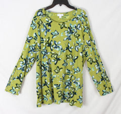 Nice J Jill XL Size Blouse Green Blue Floral Womens Top