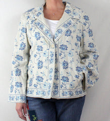 Adorable J Jill L size Off White Blue Embroidered Floral Linen Jacket 3 Season - Jamies Closet - 2